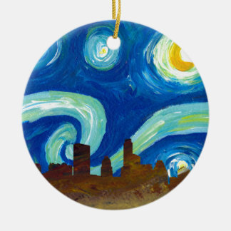 Austin Skyline Silhouette with Starry Night Ceramic Ornament