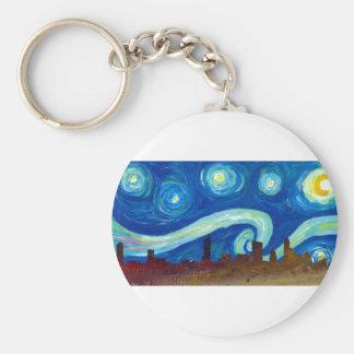 Austin Skyline Silhouette with Starry Night Keychain