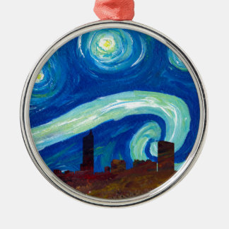 Austin Skyline Silhouette with Starry Night Metal Ornament