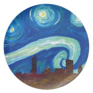 Austin Skyline Silhouette with Starry Night Plate