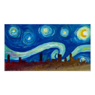 Austin Skyline Silhouette with Starry Night Poster