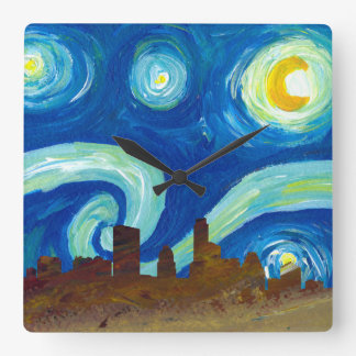 Austin Skyline Silhouette with Starry Night Square Wall Clock