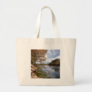 Austin, Texas Barton Creek / Ladybird Lake Swans Large Tote Bag