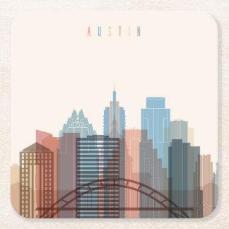 Austin, Texas | City Skyline Square Paper Coaster