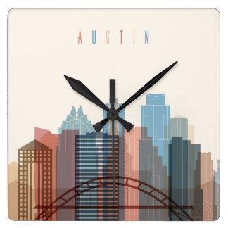 Austin, Texas | City Skyline Square Wall Clock