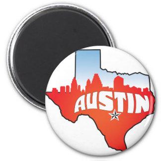 Austin Texas Cityscape 2 Inch Round Magnet
