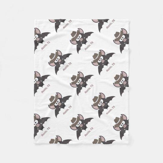 Austin Texas Cowboy Bat Fleece Blanket