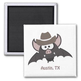 Austin, Texas - Cowboy bat Square Magnet