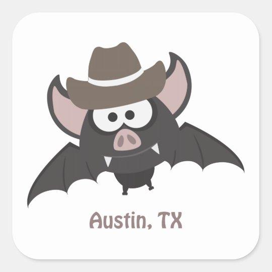 Austin Texas Cowboy Bat Square Sticker