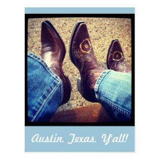 Austin Texas Cowboy Cowgirl Boots Postcard