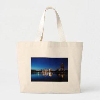 Austin Texas Downtown Night Skyline Ladybird Lake Large Tote Bag