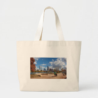 Austin Texas Downtown Skyline - Ladybird Lake Large Tote Bag