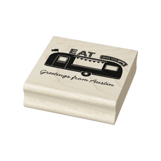 Austin Texas Food Truck Rubber Art Stamp