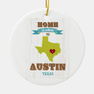 Austin, Texas Map – Home Is Where The Heart Is Ceramic Ornament