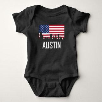 Austin Texas Skyline American Flag Baby Bodysuit