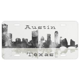 Austin, Texas Skyline - Black & Grey License Plate