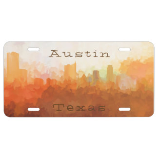 Austin, Texas Skyline - In the Clouds License Plate