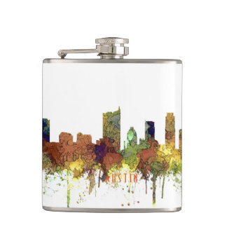Austin, Texas Skyline - Safari Buff Hip Flask