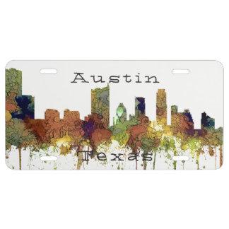 Austin, Texas Skyline - Safari Buff License Plate