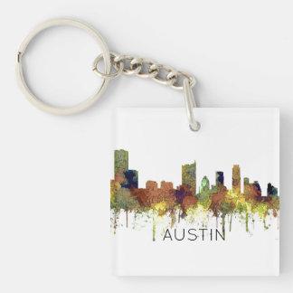 Austin Texas Skyline SG-Safari Buff Keychain