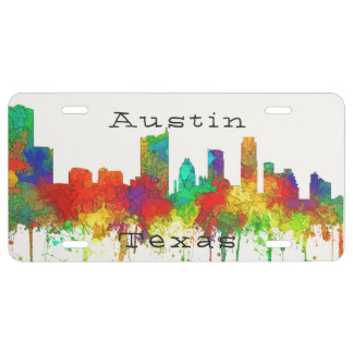Austin, Texas Skyline - Stained Glass License Plate