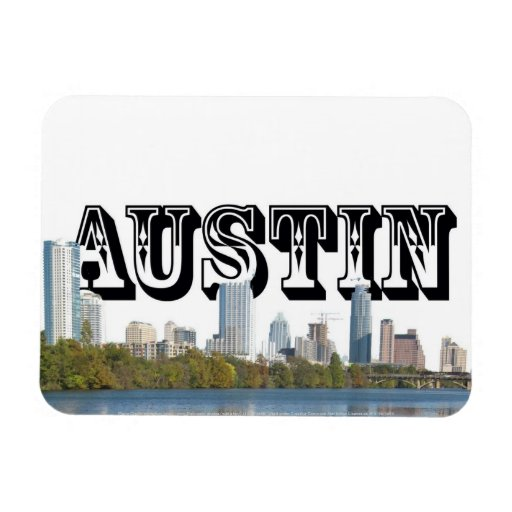 Austin Texas Skyline w/ Austin in the Sky Rectangle Magnet