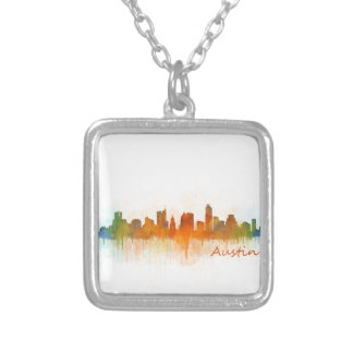 Austin Texas skyline Watercolor v3 Silver Plated Necklace