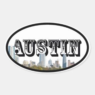 Austin, Texas Skyline with Austin in the Sky Oval Sticker
