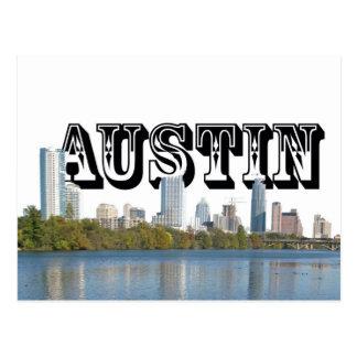 Austin Texas Skyline with Austin in the Sky Postcard