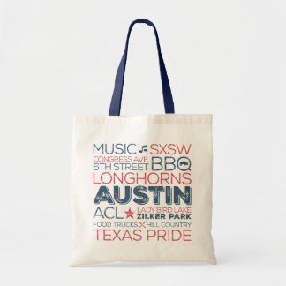 Austin Texas Subway Art Tote - Red and Blue