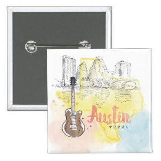 Austin,Texas | Watercolor Sketch 2 Inch Square Button