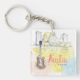 Austin,Texas   Watercolor Sketch Keychain