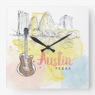Austin,Texas | Watercolor Sketch Square Wall Clock