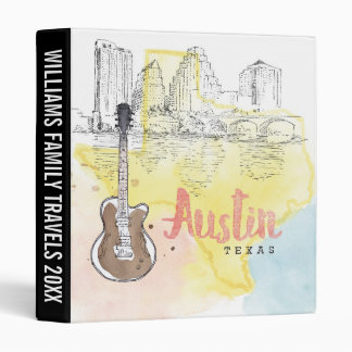 Austin,Texas | Watercolor Sketch Vinyl Binders