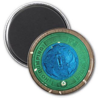 Austin TX 6th Street Manhole 2 Inch Round Magnet