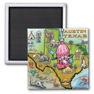 Austin TX Square Magnet