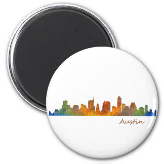 Austin watercolor Texas skyline v1 2 Inch Round Magnet