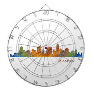 Austin watercolor Texas skyline v1 Dart Boards