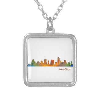 Austin watercolor Texas skyline v1 Silver Plated Necklace