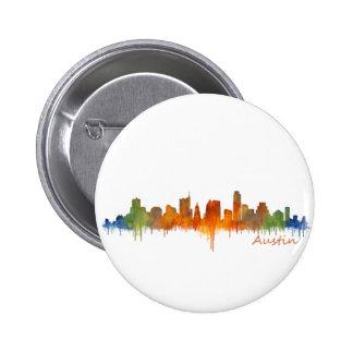 Austin watercolor Texas skyline v2 2 Inch Round Button