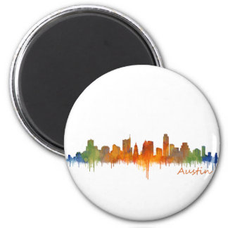 Austin watercolor Texas skyline v2 2 Inch Round Magnet