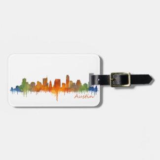 Austin watercolor Texas skyline v2 Luggage Tag