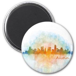 Austin watercolor Texas skyline v4 2 Inch Round Magnet
