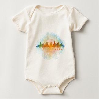 Austin watercolor Texas skyline v4 Baby Bodysuit