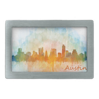 Austin watercolor Texas skyline v4 Belt Buckle
