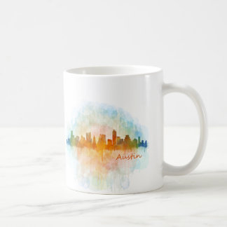Austin watercolor Texas skyline v4. big Coffee Mug