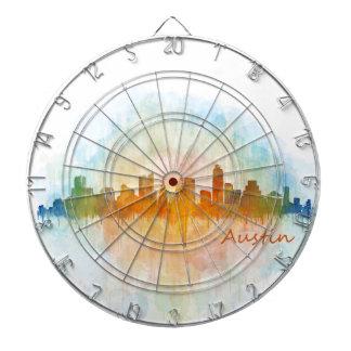 Austin watercolor Texas skyline v4 Dart Boards