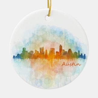 Austin watercolor Texas skyline v4 Round Ceramic Ornament