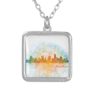 Austin watercolor Texas skyline v4 Silver Plated Necklace