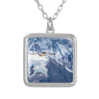 Austral Patagonian Bird Flying Silver Plated Necklace